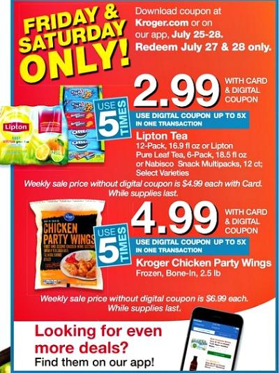Kroger Saturday & Sunday Deals - Save on Lipton Tea, Nabisco