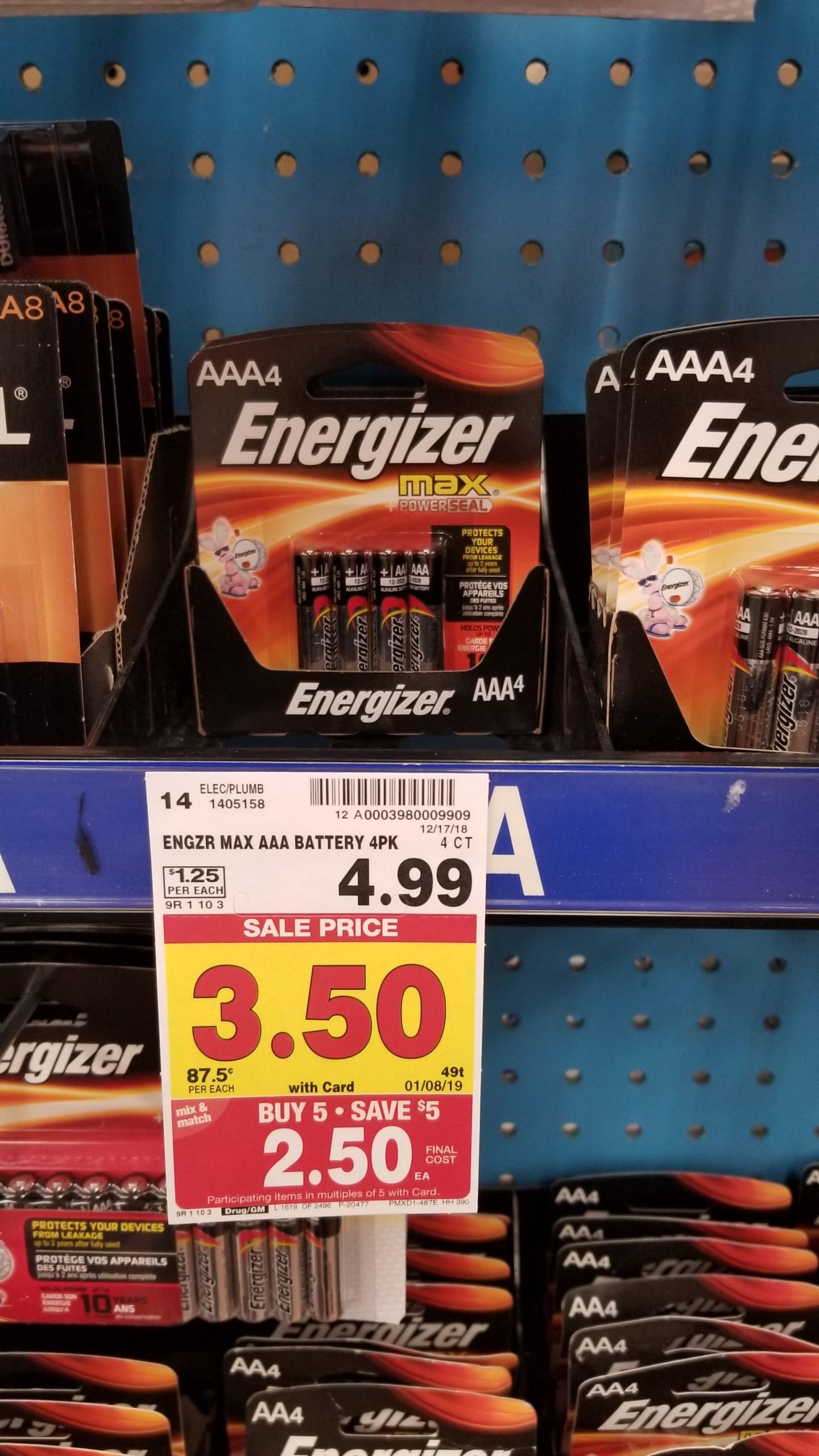 Energizer Batteries just $1.25 - Kroger Couponing